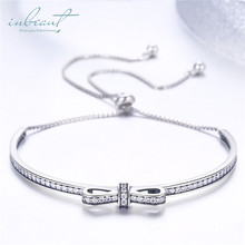 inbeaut Silver White CZ Bow Beads Bracelet Original 925 Zircon Bow-knot Party Bangle Adjustable Chain Jewelry for Women Wedding moonmory sparkling bow bangle s925 sterling silver bow tie shaped bracelet with clear zircon for woman diy silver jewelry bangle