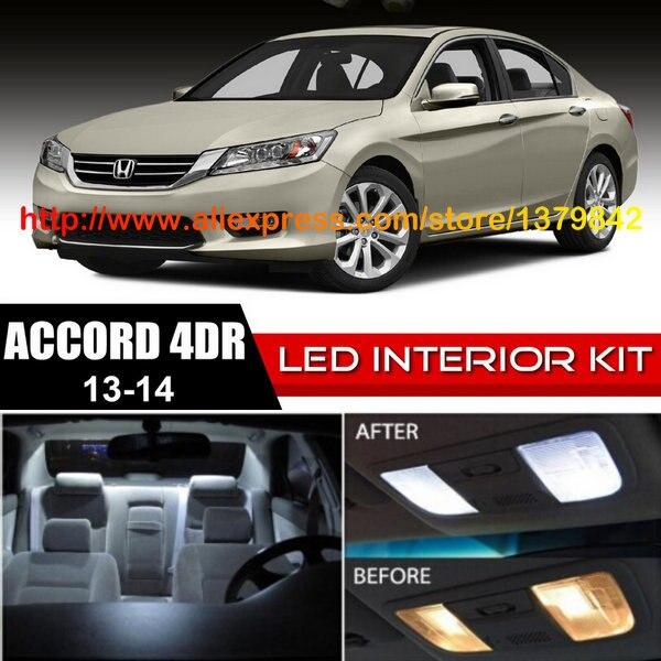 Frete Grátis 12 pçs/lote 12 v-car styling Xenon Branco/Azul Kit Luzes LED Interior de Pacote Para 13 -14 Honda Accord 4dr