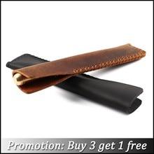 цены handmade genuine leather pen bag cowhide pencil bag vintage retro style accessories for traveler's notebook free shipping