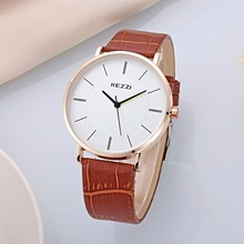 Simple Ultrathin Fashion casual men's quartz wrist watches Male dress watches Lover's gift clock PU leather strap Brand KEZZI