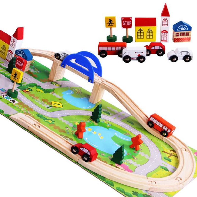Colorful Wooden Puzzle Toy City Traffic Vehicle Railway Flyover Building Game Toy Puzzle Wood Educational Toys For Children цены