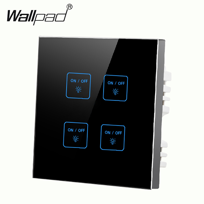 Hot Design 4 gangs 2 way Black LED Touch Switch,110v~250v micro touch wall light switch Buttons free to Customize