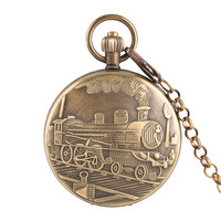 Bronze Train Locomotive Automatic Mechanical Pocket Watch Chain Women Men Watches Gift with Horizontal Phases Moon Sun 24 Hour