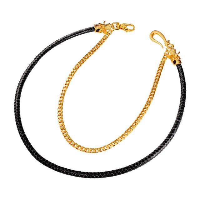 U7 Punk Rock Cowboy Pants Trousers Chain Yellow Gold/Black Gun Plated Hip-hop Waist Accessories BC103