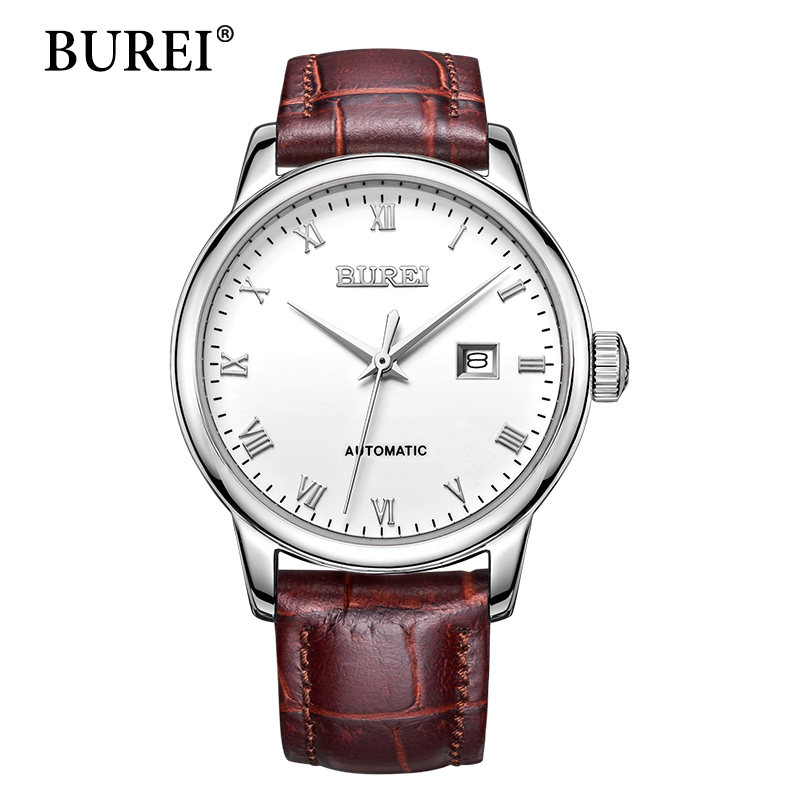 BUREI Women Watch Top Brand Luxury Automatic Female Clock Calfskin Band Calendar Display White Lens Mechanical Watches Hot Sale ultra luxury 2 3 5 modes german motor watch winder white color wooden black pu leater inside automatic watch winder