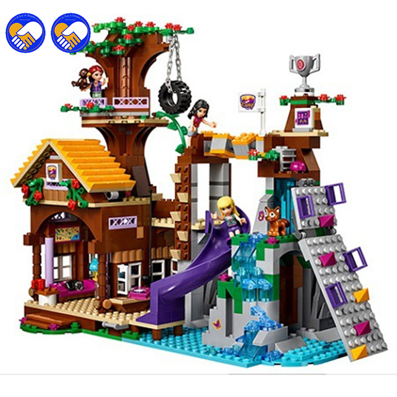 цены A toy A dream 2016 BALE 10497 Girl Friends Adventure Camp Tree House 41122 Building Kit Set Blocks Compatible lepin Bricks Toy
