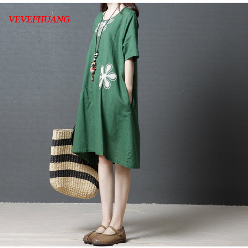 Vintage Summer Plus Size Women Casual Dress Brief O Neck Floral Pattern Female Elbise Short Sleeve Cotton Linen Tunic Dresses