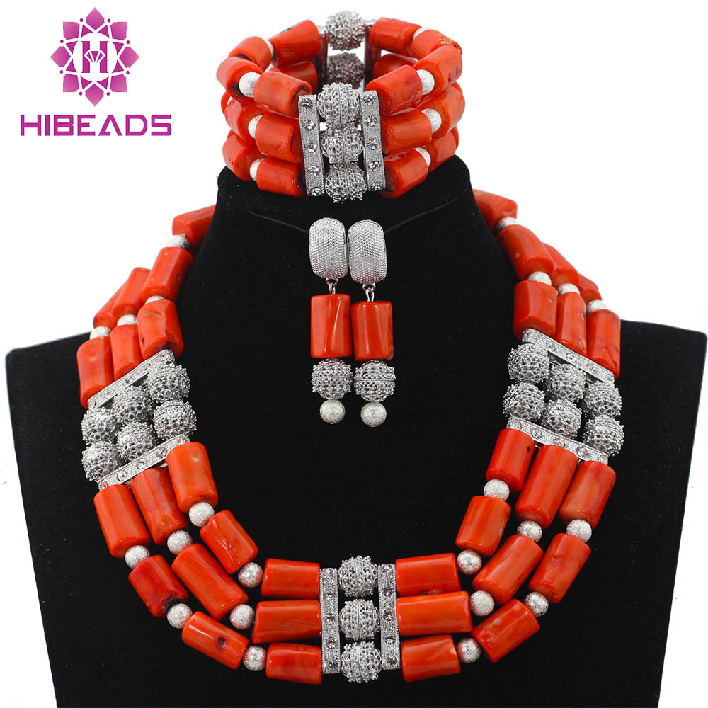 Luxury 3 Layers Quality Coral Beaded Statement Necklace Bracelet Earrings Set Nigerian Wedding Jewelry Set New CNR587Luxury 3 Layers Quality Coral Beaded Statement Necklace Bracelet Earrings Set Nigerian Wedding Jewelry Set New CNR587