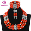 Luxury 3 Layers Quality Coral Beaded Statement Necklace Bracelet Earrings Set Nigerian Wedding Jewelry Set Silver Plated CNR587