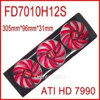 Envío Libre FD7010H12S DC 12 V 0.35A Para AMD ATI HD 7990 Tarjeta de vídeo VGA Del Ventilador Ventilador de la Tarjeta Gráfica HD7990 4 De Refrigeración ventilador
