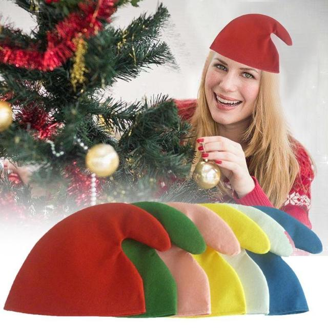 0b96d0df8b94d Christmas Hats Santa Hats Colorful Elves Hat Children Women Men Boys Girls Xmas  Cap Halloween Christmas Party Supplies Props