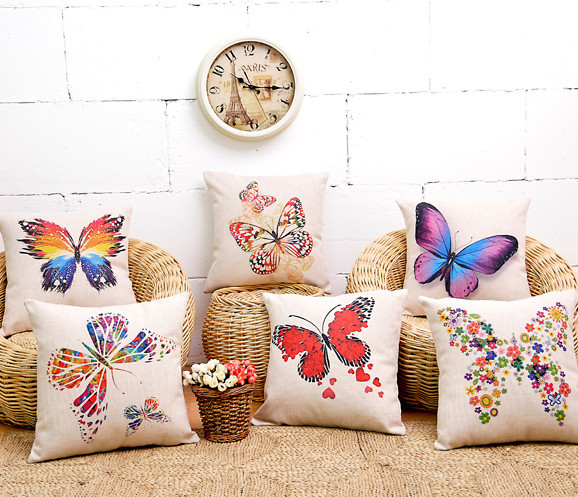 spring butterfly home decor cushion linen cotton pillow sofa cushions decorative throw pillow free shipping - Decorative Pillows For Sofa