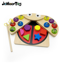 JaheerToy Wood Blocks Shape Classification Cognitive Color Baby's Early Education Toys Fishing Game Parent-child Interaction factory direct wholesale billiard game billiards color matching cognitive parent child game desktop classic toys kids wood toys