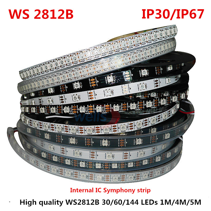 1/4/5 Meter WS2812B Full Color Symphony 30 60 144 LED Pixel / Meter SMD 5050 Built-in IC Programmable Addressable 5V lampu Strip