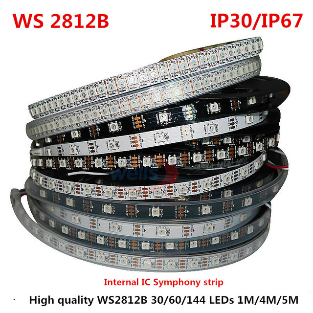 1/4/5 Metro WS2812B Full Color Sinfonia 30 60 144 Pixel LED/Meter SMD 5050 Built-In Programmabile IC Indirizzabile 5 V luci di Striscia