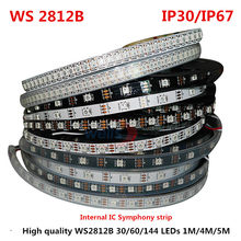 1/4/5 Meter WS2812B Full Color Symphony 30 60 144 LED Pixel/Meter SMD 5050 Built-in IC Programmable Addressable 5V Strip lights(China)