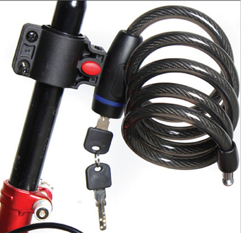 Strong steel wire bike bicycle lock cable 1050mm 2 keys blk042