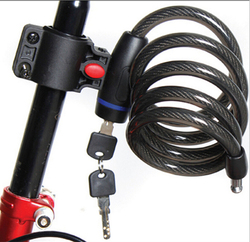 Strong steel wire bike bicycle lock cable 1050mm 2 keys blk042.jpg 250x250