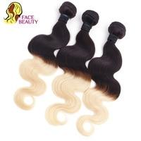 Facebeauty Peruvian Remy Hair Weave Weft Ombre Body Wave 3 Bundle Deals 1B 613 2 Tone Color Russian Blonde Human Hair Bundles