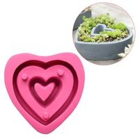 15*16cm Love Shape Flower Pot Silicone Mold Succulents Potted Flowers Home Gardening Decoration Concrete Cement Pot Tray Mold
