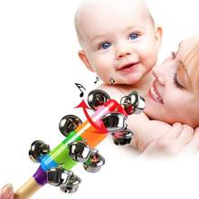 Newborn Baby Rattles Wooden Handle Bell Stick Shaker Toys Sound Handbell Toy Rainbow Baby Rattles Toys Infant Pram Crib Kids Toy(China)