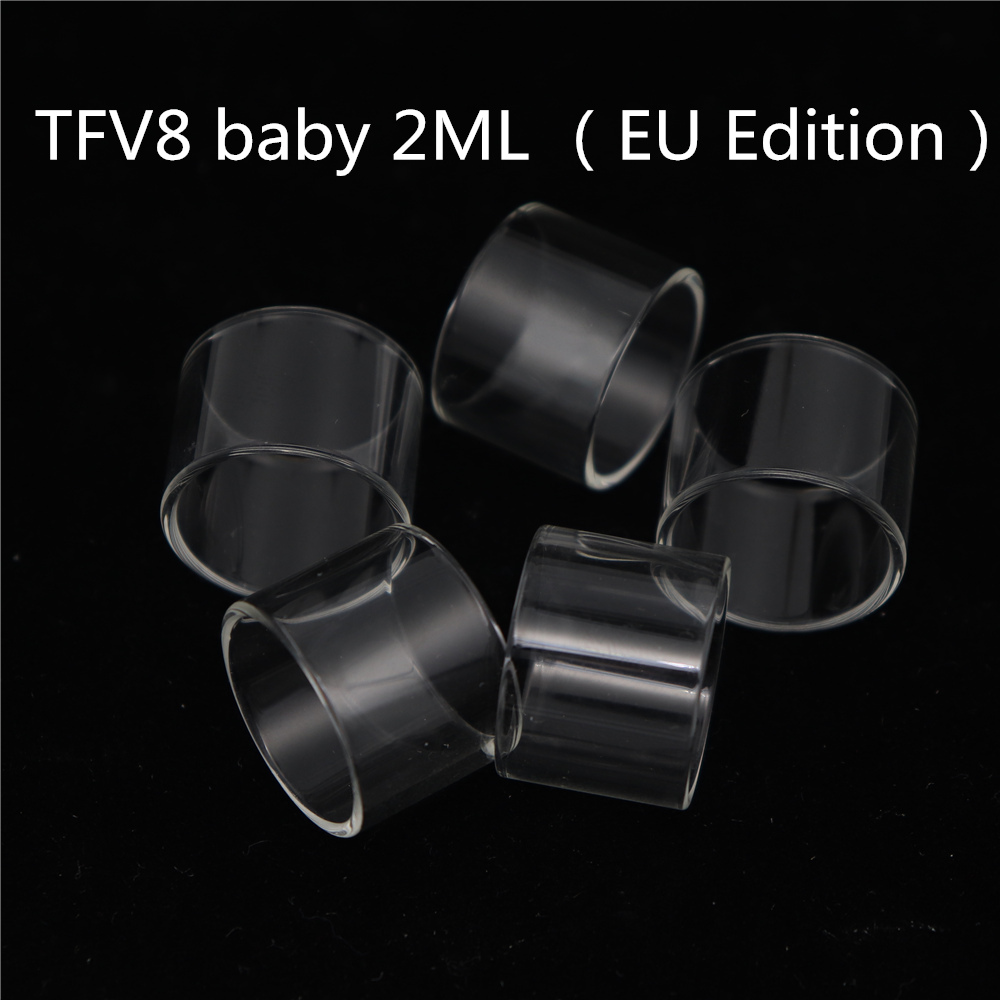 5PCS YUHETEC Replacement Glass Tank for SMOK TFV8 baby 3.5ml / 2ml TFV8 BABY RBA/TFV8 X-baby 4ML/TFV8 X-baby 2ml EU Edition tube