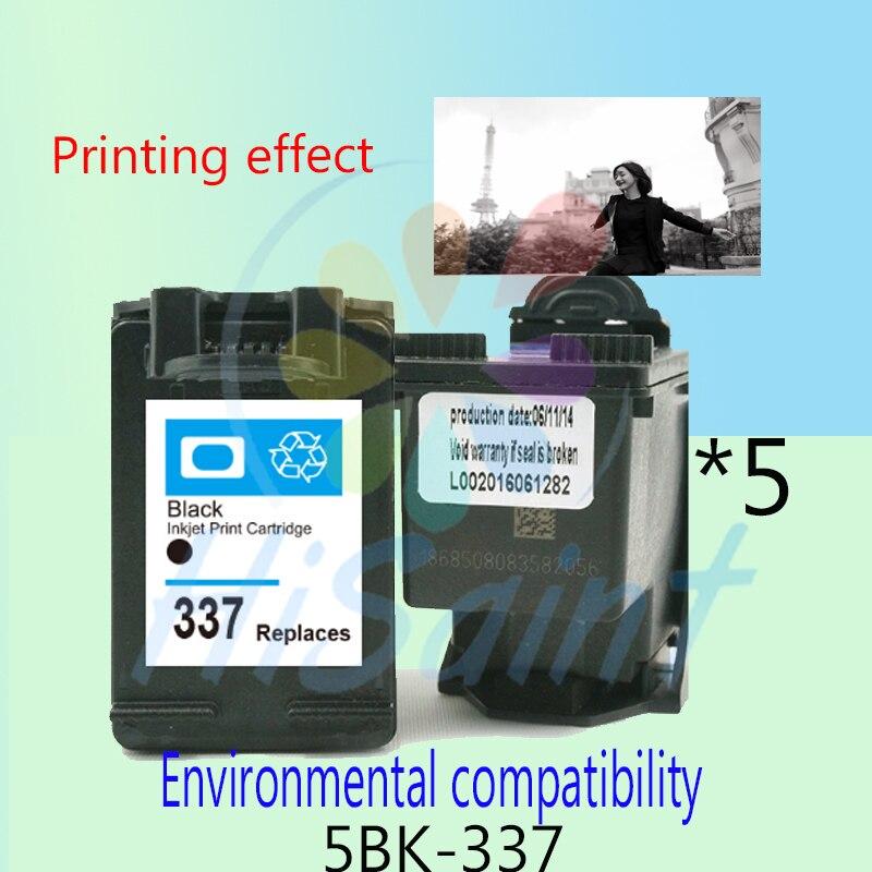 ФОТО Hot sale 5 pieces for HP 337 Environmental protection cartridges compatible Deskjet 6940 D4160 Photosmart 2575 8050 C4180 D5160