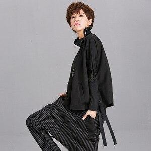Image 4 - [EAM] Loose Fit Black Ribbon Split Sweatshirt New High Collar Long Sleeve Women Big Size Fashion Tide Spring Autumn 2020 OA879