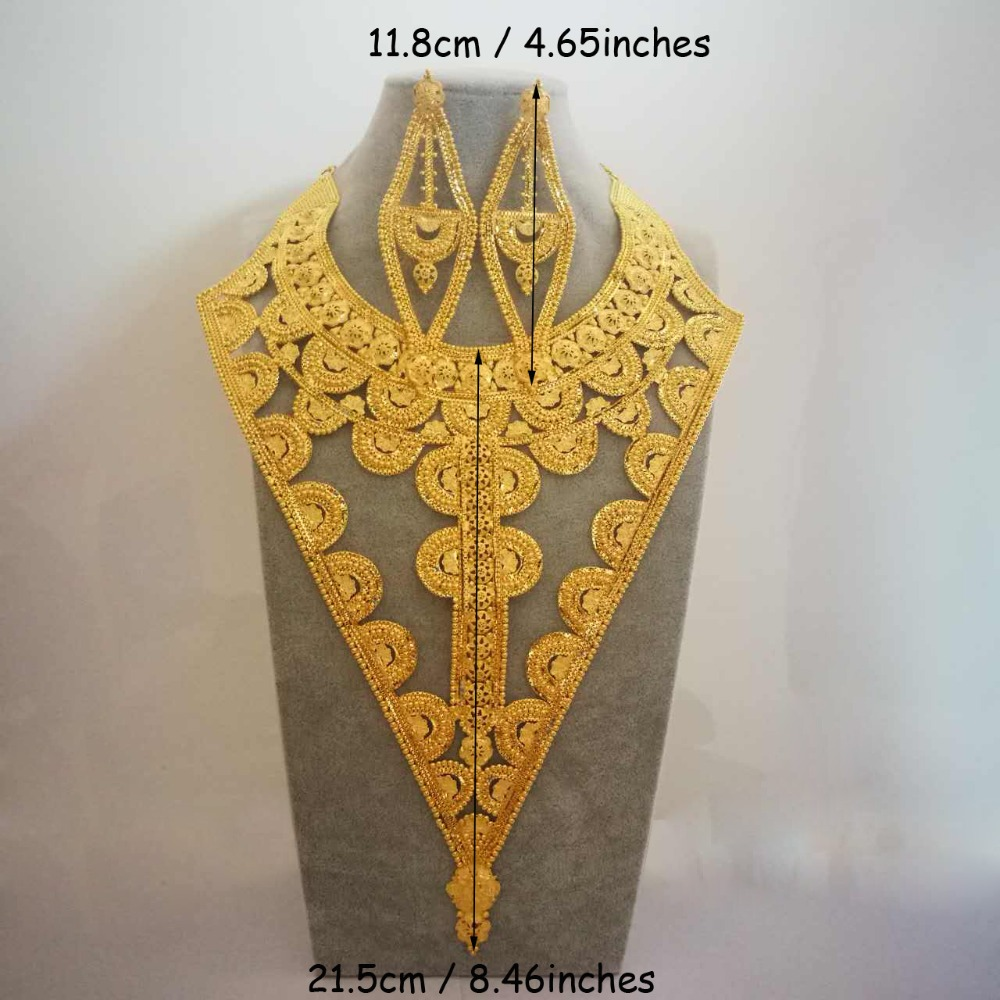 Takı ve Aksesuarları'ten Takı Setleri'de Anniyo elbise takı seti büyük kolye küpe düğün altın rengi ve bakır afrika gelin/arap hediyeleri #007523'da  Grup 1