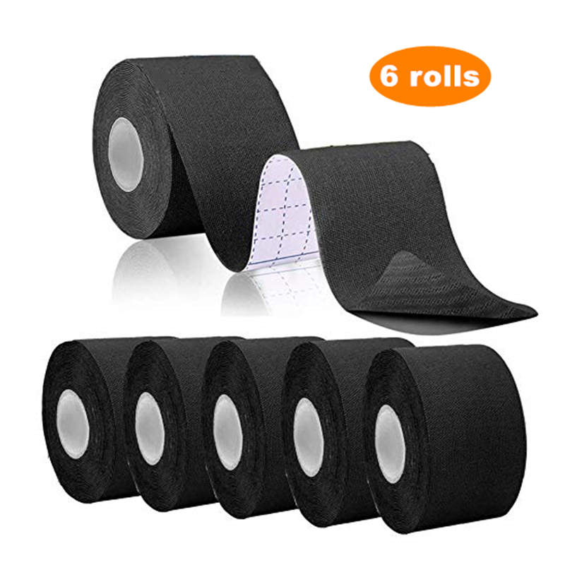 Cinta elástica para Kinesiología 15 colores 6 rollos impermeable de algodón Set vendaje adhesivo Protector de codos y rodillas para Fitness tenis Running