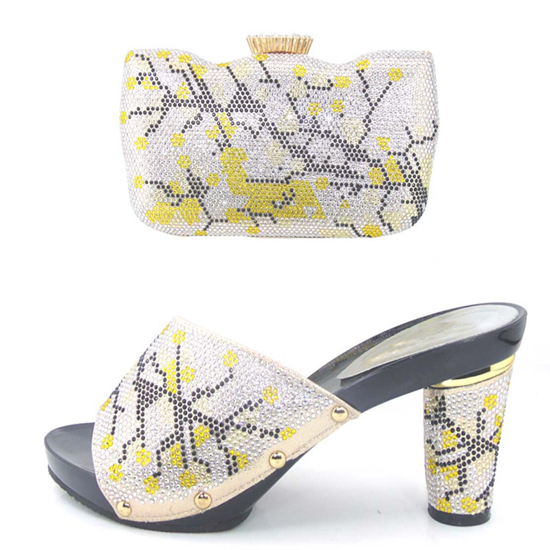 ФОТО Italian Matching Shoes Sandals And Purse African Party Women Shoes And Bag Sets!  !HJJ1-26