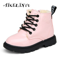 2016 Winter Boots Kids Candy Color Children Leather Boots Boys Girls Warm Shoes Children Shoes Martin