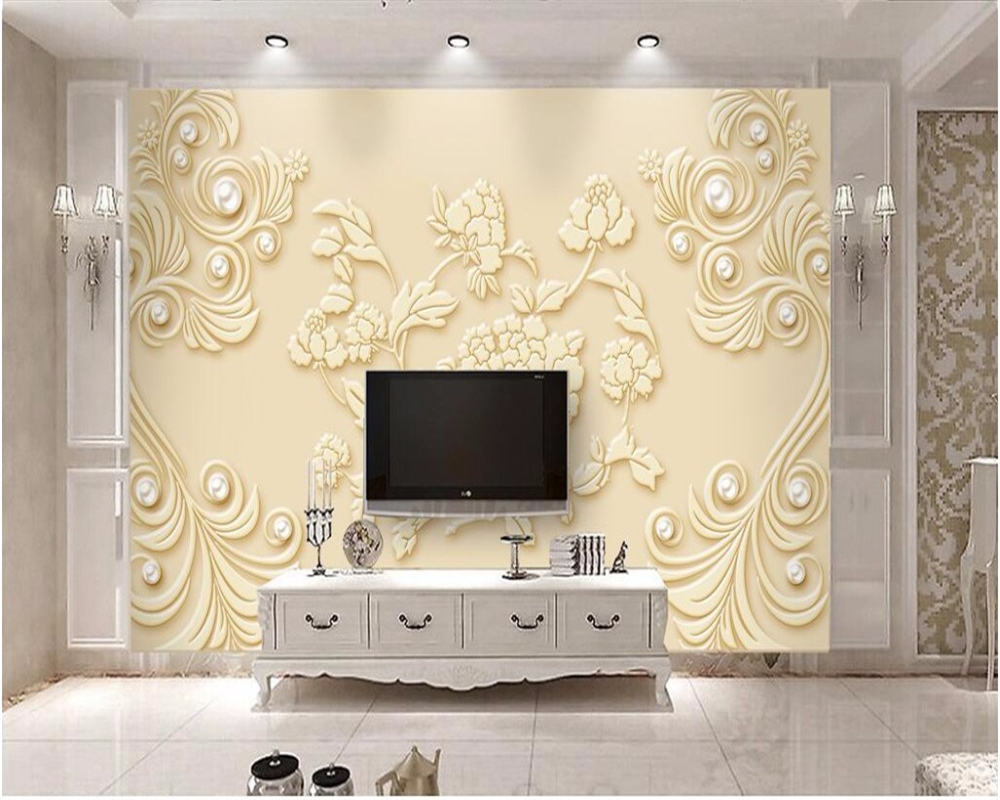 Beibehang custom 3d wallpaper mural three dimensional modern simple high end embossed peony jewelry backdrop 3d wall paper mural in wallpapers from home