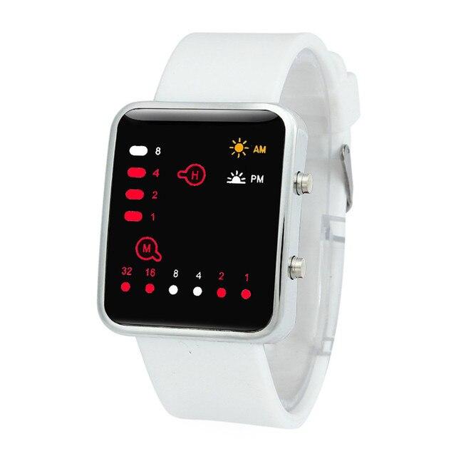 Women Mens 2018 Digital Red LED Sports Watch Binary Wristwatch Silicone Sport me