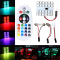 1 Set T10 BA9S RGB 5050 SMD 24 LED Auto Car Festoon Dome Reading Light Lamp Bulb 288 LM With Remote Control DC12V Car Styling