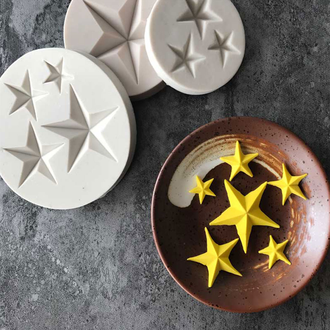 Hot Sale Five-pointed Star Fondant Cake Silicone Mold DIY Candy Cookie Cupcake Molds Baking Decorating Tools Biscuits Mould