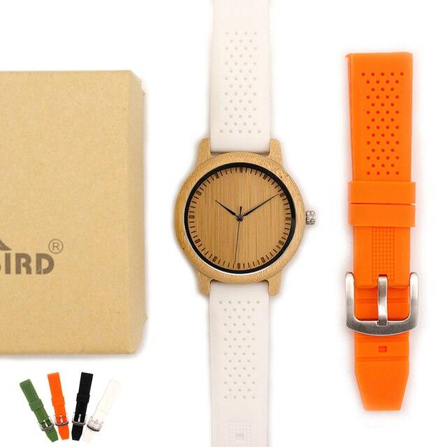 BOBO VOGEL WB07 Bambus Holz Uhr für Männer Einfache Stil Holz Zifferblatt Gesicht Quarzuhr mit Weichen Silikon Strap Extra band als Geschenk