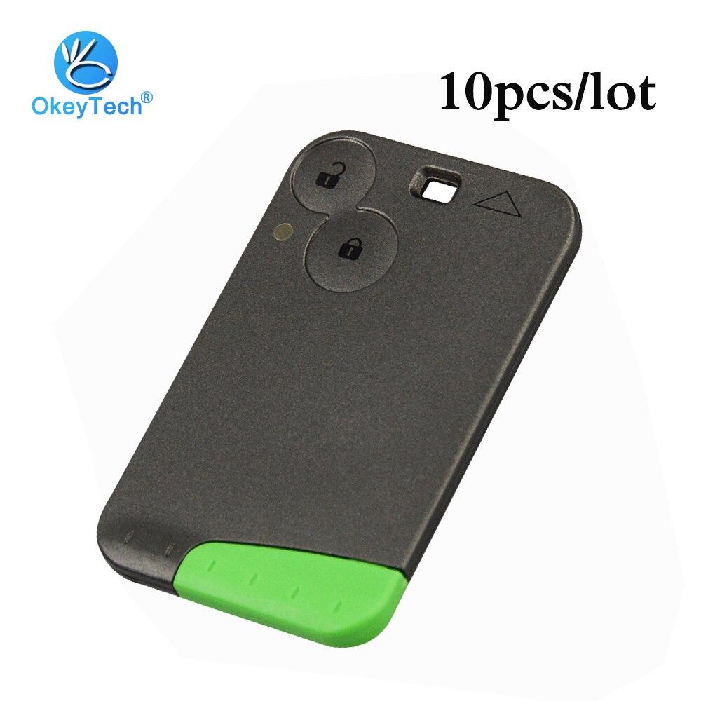 OkeyTech 10 pcs/lot 2 bouton 433mhz ID46 puce clé intelligente carte sans clé à distance pour Renault Laguna Espace avec lame verte d'urgence