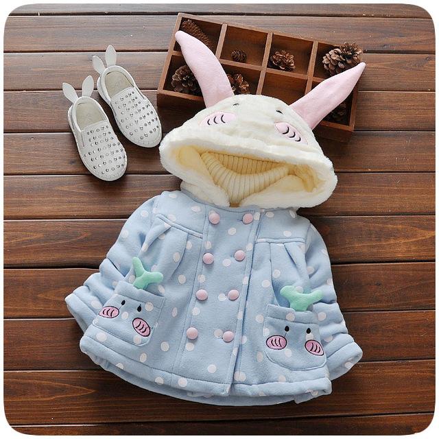 2016 Otoño Invierno de Los Niños Ropa de Abrigo prendas de Vestir Exteriores Wadded Bebé Muchacha de Los Muchachos de Algodón Acolchado Con Capucha de Conejo Engrosamiento Chaqueta
