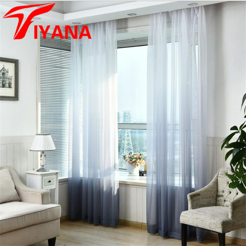 Gradient White Window Curtains Home Decor Tulle Curtains