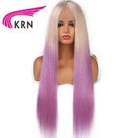 КРН Ombre Цвет Синтетические волосы на кружеве натуральные волосы парики с волосами младенца 13X3 прямо Волосы remy предварительно сорвал бразил