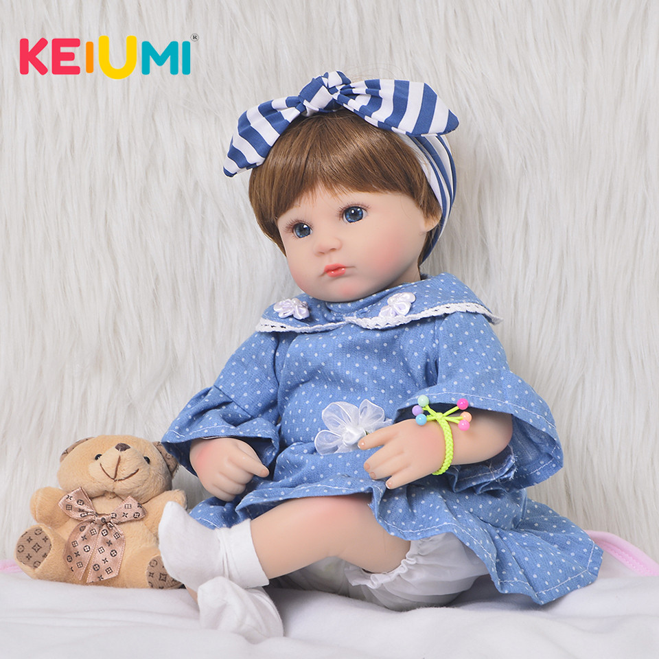 17 Inch Babies Doll Silicone Newborn Realistic 43 cm Reborn Baby Doll Kids Playmate For Girls Gift Toys Soft Body Boneca Reborn