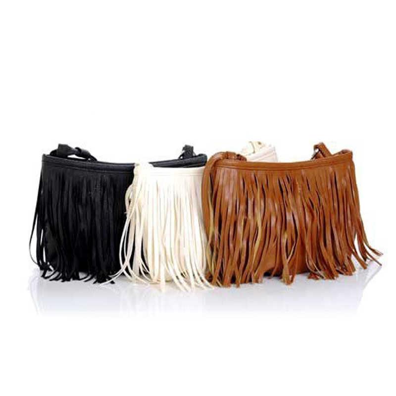 Lebolong Hot Sale!! Womens Tassle Rumbai Fringe Faux Suede Shoulder Messenger Bag Handbag Purse Crossbody Hitam Coklat Putih