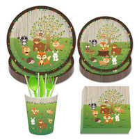 Safari Woodland Theme Party Decorations Sets Jungle Carton Animals Disposable Tableware Kids Birthday Baby Shower Party Favors