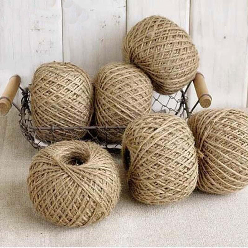 30M Natural Burlap Hessian Jute Twine Cord Hemp Rope String Gift Packing Strings Christmas Event & Party Supplies