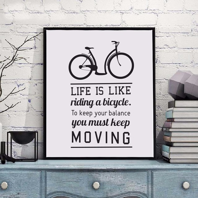 NEW Bike Motivational Quotes Life is Bike Canvas Painting Poster
