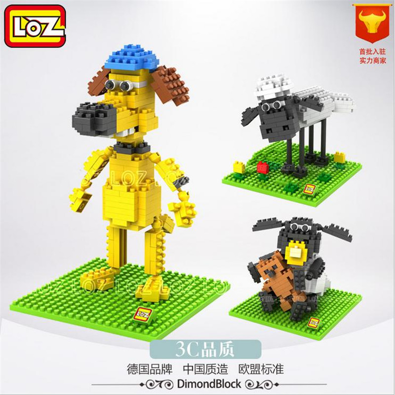 5Pcs LOZ Micro Blocks Shaun Sheep 3D Movie Character Anime Action Figure Diamond Building Blocks Baby Lovely Toy Best Gift 9475 loz diamond blocks assembly display case plastic large display box table for figures nano pixels micro blocks bricks toy 9940