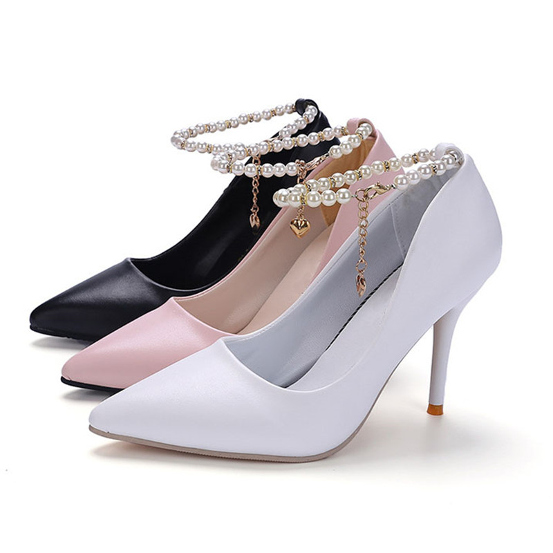 Negro 9996 blanco 10 Señaló Impermeable Zapatos rosado 328 Verano Zapato Con Talones Mujer Primavera Y Lss Cadena El Decoración Cm Altos TR4Uqx1w