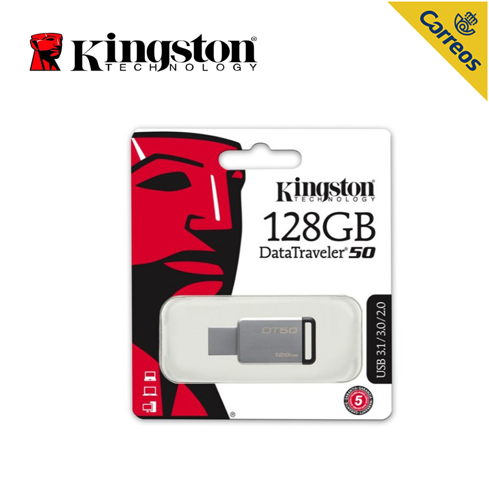 Kingston technologie numérique DT50 128 GB USB Flash Drive 3.0 USB type-a connecteur clé USB métal stylo lecteurs argent mémoire U Stick