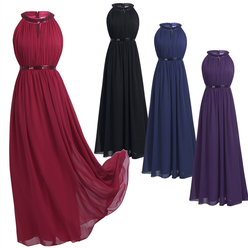 Image 3 - 2018 TiaoBug Fashion Women Adult Chiffon Long Bridesmaid Dresses Women Ladies Halter Bridal Maxi Prom Gown Princess Lace Dresses-in Bridesmaid Dresses from Weddings & Events